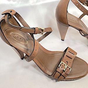 New TOD'S Criss-Cross Ankle Strap Heels, SZ 7 1/2
